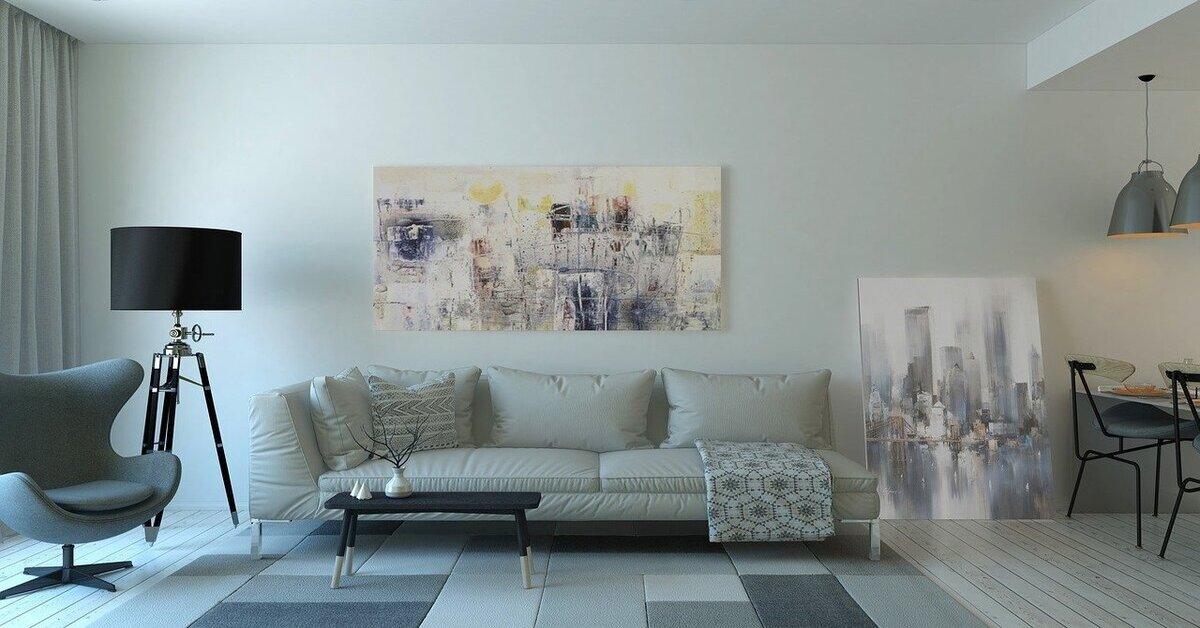 prikat enterijara dnevne sobe sa nameštajem sive boje